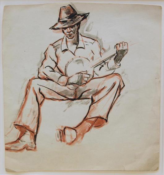 Original pastel painting by Dox Thrash (American, 1893-1965), titled 'Banjo Player.' (est. $4,000-$5,000). Elite Decorative Arts image.