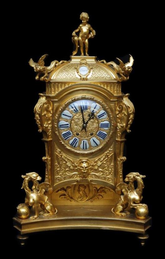 French Japy Freres bronze mantel clock with figural design depicting mythological beasts. Estimate: $7,000-$9,000. Elite Decorative Arts image.