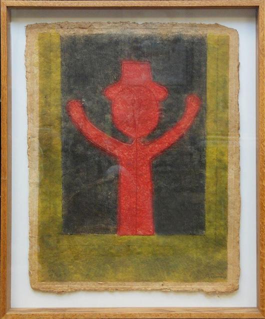 Paper mixograph work by Rufino Tamayo (Mexican, 1899-1991), titled 'Nino Con Sombrero.' Estimate: $3,000-$5,000. Elite Decorative Arts image.