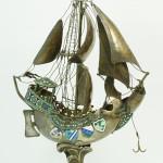 Russian enameled silver Povchinikov figural sailboat sculpture, weighing 47.19 troy ounces. Estimate: $15,000-$20,000. Elite Decorative Arts image.
