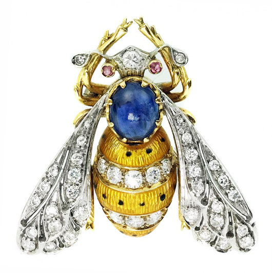 Eighteen-karat diamond and enamel 'Bee' brooch, centered by one oval cabochon sapphire. Estimate: $2,000-$4,000. A.B. Levy's image.