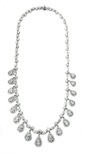 Very fine diamond and platinum necklace set with 300 round and brilliant cut diamonds weighing about 8.45 carats. Estimate: $100,000-$150,000. A.B. Levy's image.