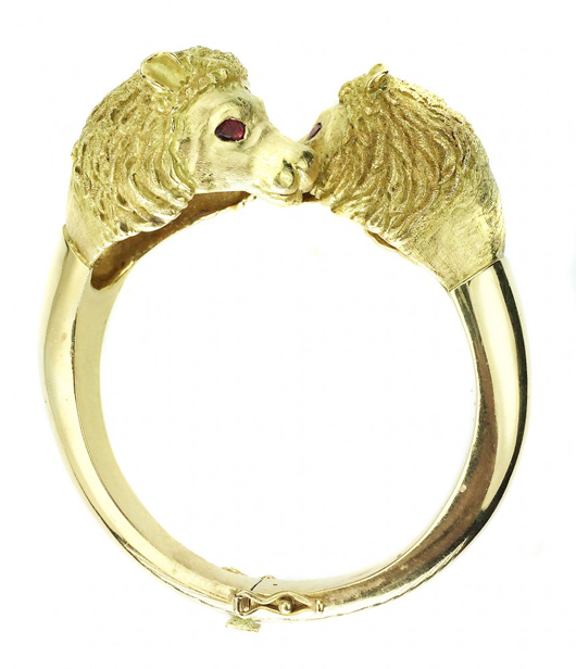 Size 6 18K yellow gold with ruby eye cuff bracelet, signed J. Rossi, from the Elizabeth Taylor Collection. Estimate: $16,000-$20,000. A.B. Levy's image.