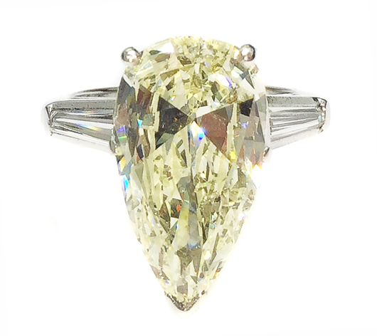 Platinum and diamond ring centered by a pear-shape diamond weighing a staggering 7.50 carats. Estimate: $20,000-$30,000. A.B. Levy's image.