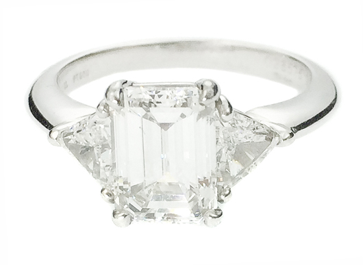 Tiffany & Co. platinum and diamond ring, stamped and numbered, centered by an emerald-cut diamond weighing 2.05 carats. Estimate: $25,000-$35,000. A.B. Levy's image.