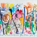 Jean Tinguely, Coopération imaginaire avec Yves Klein, 1988, tempera, pastello e gouache su cartoncino, cm 65x85, Stima €10.000-12.000, Courtesy Pandolfini Firenze