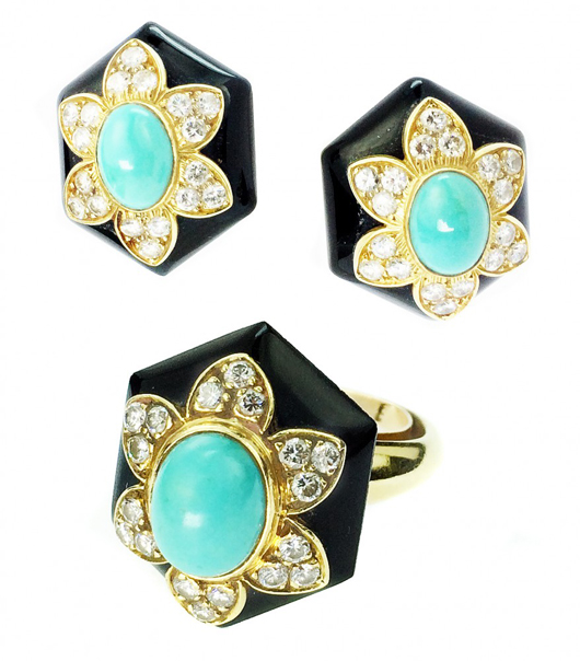Van Cleef & Arpels three-piece suite, comprising a pair of ear clips and matching ring, numbered 25444. Estimate: $15,000-$20,000. A.B. Levy's image.