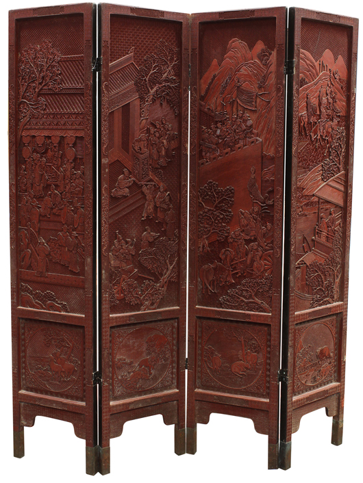 This Chinese four-panel cinnabar lacquer screen from the Honolulu Museum of Art, earned twice its high estimate selling for $32,725. Clars Auction Gallery image.