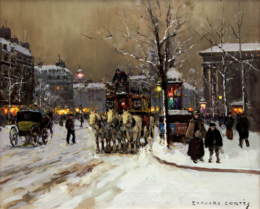 This oil on canvas titled 'Place de la Madeliene' by Edouard Leon Cortes (French, 1882-1969) more than doubled its high estimate selling for $35,700. Clars Auction Gallery image.