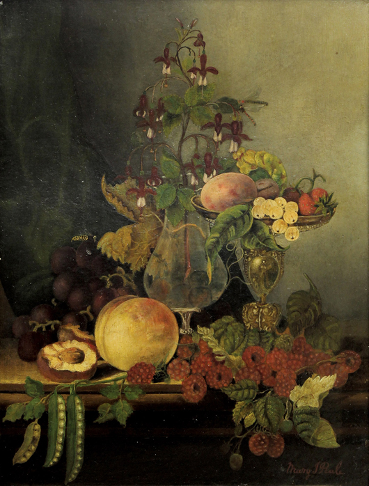 Doubling its high estimate was this oil on board by Mary Jane Peale (American, 1827-1902) titled 'Still Life with Flowers and Fruit,' which sold for $16,660. Clars Auction Gallery image.