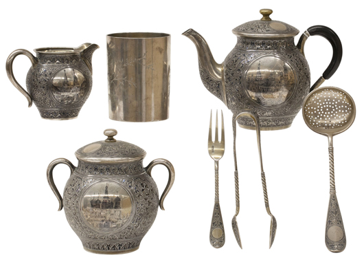 Heated bidding on this Russian .875 silver seven personal tea set, Neo-Renaissance, by Mikhail Fyoderovich Sokolov, Moscow, 1860-1890, propelled the final sale price to $20,230. Clars Auction Gallery image.