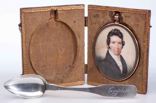 Important group of Thomas Boyle Campbell (1796-1858), Winchester, Shenandoah Valley of Virginia silversmith articles. Price realized: $20,700. Jeffrey Evans & Associates image.