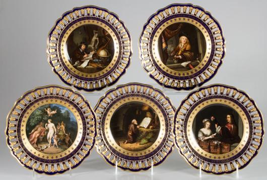 German Meissen porcelain fine cabinet plates, set of five. Price realized: $16,100. Jeffrey Evans & Associates image.