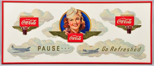 Rare 1941 Coca-Cola aviation festoon, 69 x 29in framed, est. $21,600. Morphy Auctions image.