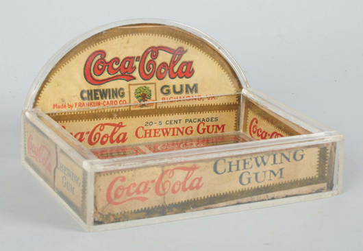 Coca-Cola Chewing Gum store display box, $18,000. Morphy Auctions image.