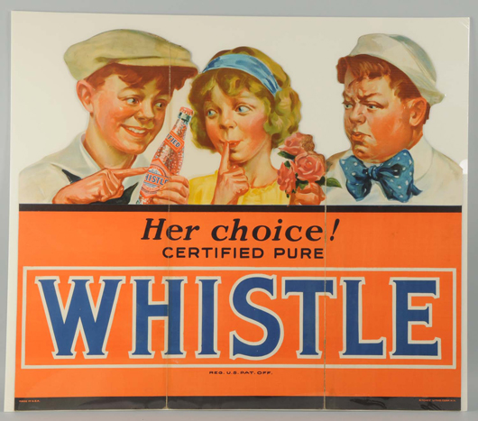 Circa-1930s tri-fold cardboard cutout featuring two boys wooing a girl – one with roses, the other with a bottle of Whistle soda pop, $38,400. Morphy Auctions image.
