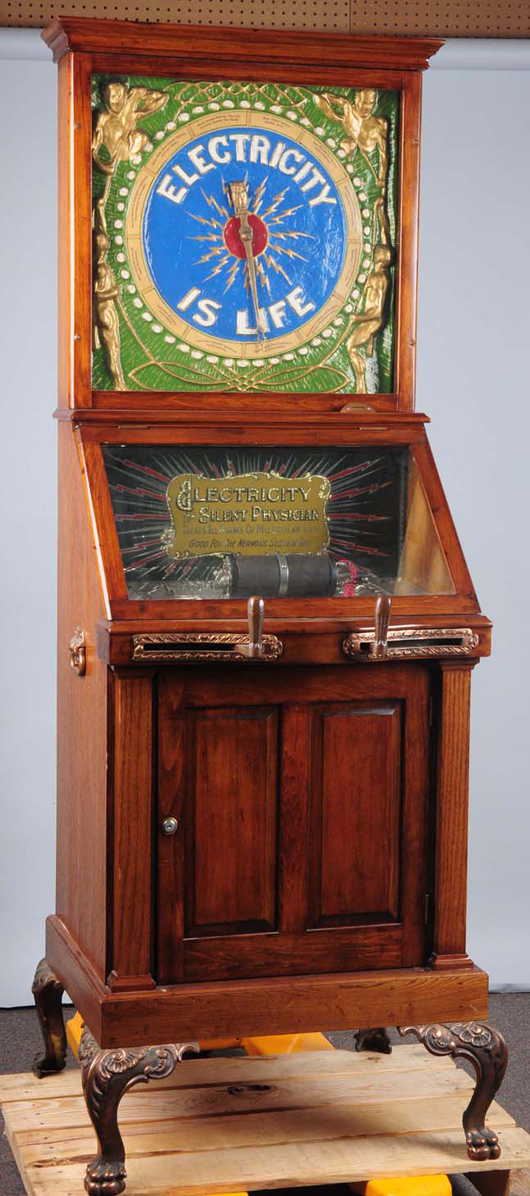 Mills novelty 'Electricity Is Life' arcade machine, 77½in tall, $19,200. Morphy Auctions image.