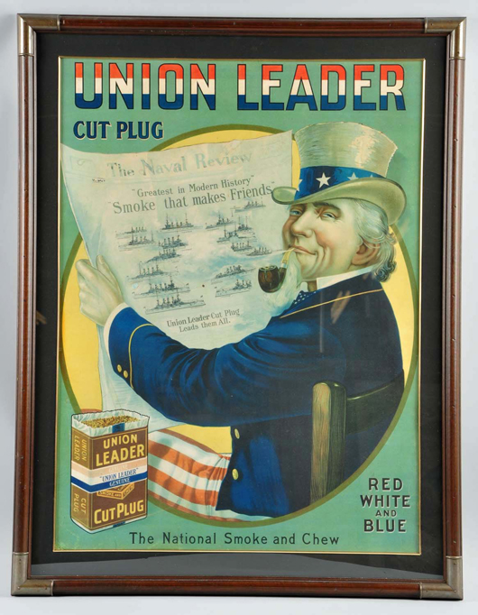 Union Leader Cut Plug Tobacco cardboard sign, 42½ x 32¾in framed, $10,800. Morphy Auctions image.