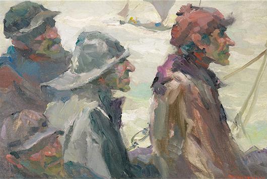 Armin Carl Hansen (Californian 1886-1957), 'Norwegian Fishermen.' Price realized: $55,460. Michaan's Auctions image.