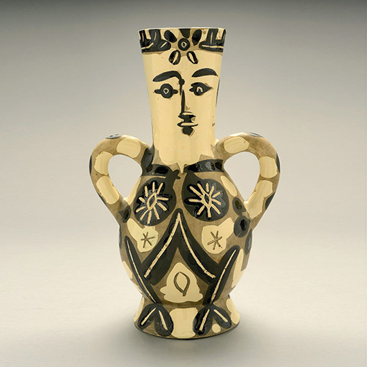 Pablo Picasso (Spanish 1881-1973), 'Vase deux anses hautes, 1952.' Price realized: '$32,450. Michaan's Auctions image.