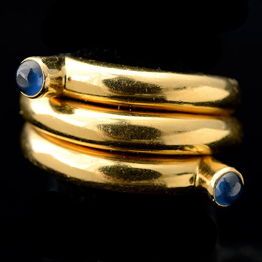 Tiffany & Co. Schlumberger, sapphire, 18K yellow gold coil ring. Price realized: $5,310. Michaan's Auctions image.