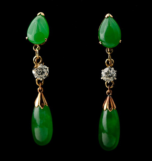 Pair of jade, diamond, 14K yellow gold earrings. Price realized: $10,620. Michaan's Auctions image.