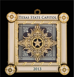 Here is the version of the 2013 Texas Capitol ornament available to the public for $20. This is the 18th ornament in the Capitol series and features the skylights of the legislative chambers of the Texas Senate and House of Representatives. The ornament, as well as ornaments from past years, can be purchased online at www.texascapitolgiftshop.com. Image courtesy of the Texas State Capitol Gift Shop.