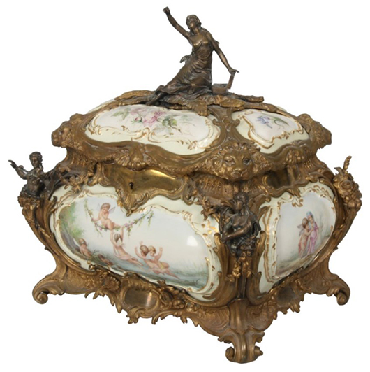 Porcelain and bronze casket attributed to Sevres, with four large painted porcelain panels (est. $10,000-$15,000). Fontaine's Auction Gallery image.