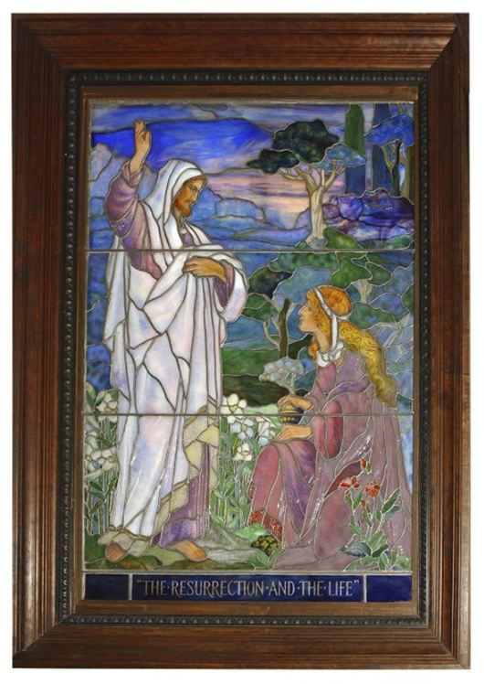 Tiffany Studios leaded stained glass window, 53 inches x 35 inches signed 'L. C. Tiffany' (est. $60,000-$80,000). Fontaine's Auction Gallery image.