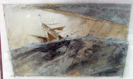 Lyonel Feininger (German/American, 1871-1956) 1934 original watercolor. John W. Coker Auctions image.