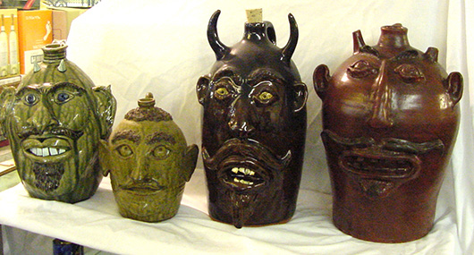 Large-size Southern 'ugly' face jugs, part of an extensive private collection. John W. Coker Auctions image.