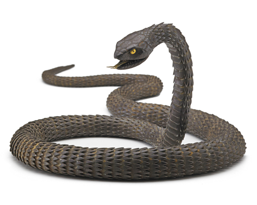 Lot 1238 – Myochin School articulated iron snake. Price realized: $195,750. Rago Arts and Auction Center image.