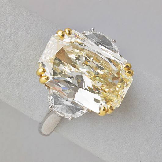 Lot 2425 – 9.04-carat radiant cut diamond ring. Price realized: $60,000. Rago Arts and Auction Center image.