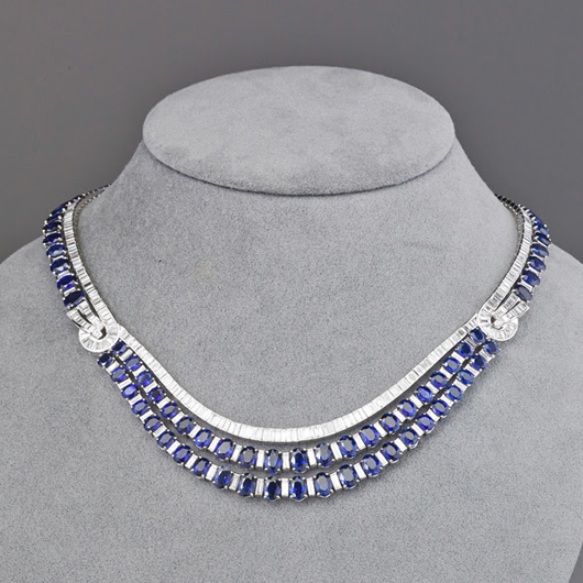 Lot 2430 – sapphire and diamond platinum necklace. Price realized: $35,000. Rago Arts and Auction Center image.