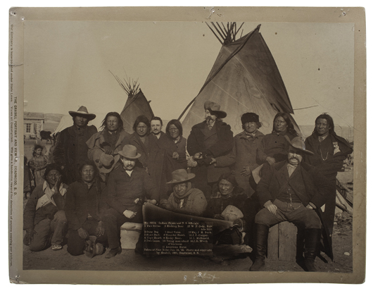 Indian Chiefs and U.S. officials, including William F. Cody, at Wounded Knee. Large-format photograph by Grabill (1 of 3). Estimate $1,000/$1,500. Cowan's Auctions image.