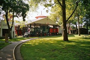 Train station and fire station at Pioneer Village in Minden, Nebraska. Photo by Rolf Blauert.