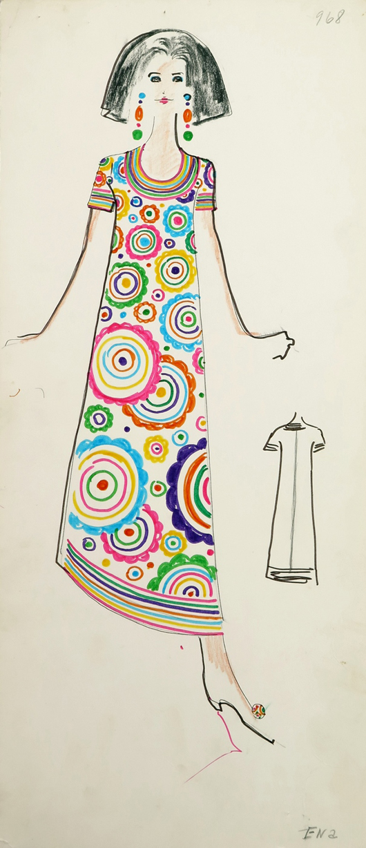 """Many of the archive boxes are marked """"Karl."""" From one of those boxes came this design of an ankle-length 1960s-style Mod-pattern dress. Quite a few of Lagerfeld's designs featured this model with chic, blunt-cut bouffant hair. From the Jan. 11, 2014 Tiziani: Lagerfeld + Liz Auction. Palm Beach Modern Auctions image."""