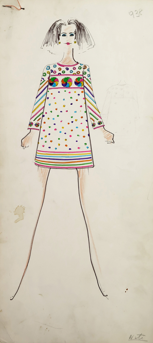 """Mini dress on same model, from box of sketches marked """"Karl."""" From the Jan. 11, 2014 Tiziani: Lagerfeld + Liz Auction. Palm Beach Modern Auctions image."""