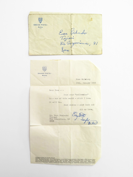 """Letter on Grand Hotel Roma stationery that Elizabeth Taylor sent from Salzburg to Evan Richards (""""Tiziani"""") on Jan. 2, 1968, wishing him well on his new collection. From the Jan. 11, 2014 Tiziani: Lagerfeld + Liz Auction. Palm Beach Modern Auctions image."""