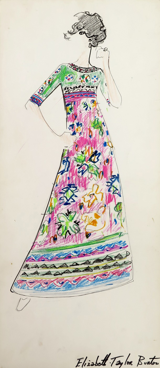 """Sketch of maxi dress marked for """"Elizabeth Taylor Burton,"""" from box of sketches marked """"Karl."""" From the Jan. 11, 2014 Tiziani: Lagerfeld + Liz Auction. Palm Beach Modern Auctions image."""