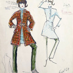 """A Karl Lagerfeld for Tiziani design evocative of Lagerfeld's earliest days as a designer. He had not yet developed his signature sketching style, which later would evolve to including finished makeup, detailed hat, etc. A board member from Versace who saw this sketch said, """"The Met should be cataloging this. This is from the period when Lagerfeld and so many of the greats were just getting started, like St. Laurent, Versace, etc."""" From the Jan. 11, 2014 Tiziani: Lagerfeld + Liz Auction. Palm Beach Modern Auctions image."""
