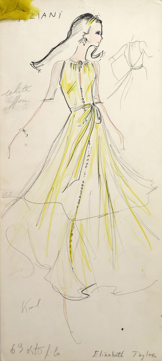 Design for dress by Tiziani, with attached fabric swatch, signed by Karl Lagerfeld and noted as being for Elizabeth Taylor. Inset detail sketch shows back of dress. From the Jan. 11, 2014 Tiziani: Lagerfeld + Liz Auction. Palm Beach Modern Auctions image.