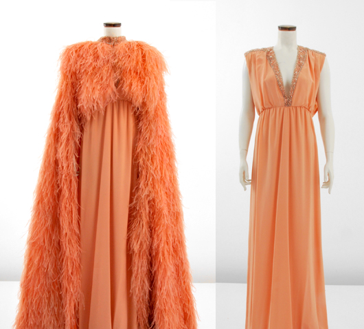 Tiziani beaded coral gown with long feathered cape, offered with matching original sketch (not shown). From the Jan. 11, 2014 Tiziani: Lagerfeld + Liz Auction. Palm Beach Modern Auctions image.