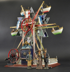 This rare circa 1902 Marklin Ferris wheel features six exquisitely carved and painted gondolas. Private Collection of Jeanne Bertoia.