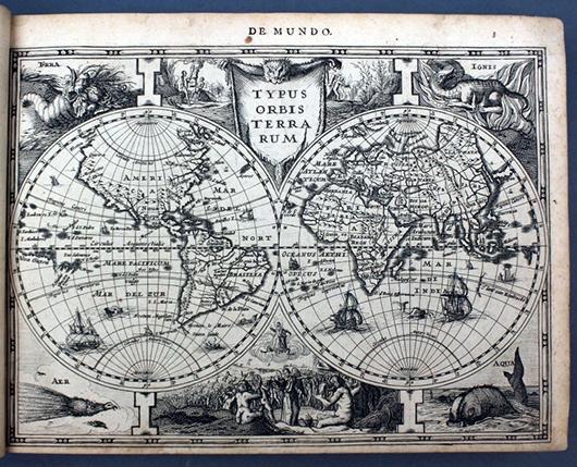 1632 Gerard Mercator Atlas (sive Cosmographicae Meditationes de Fabrica Mundi et Fabricati Figura…Amsterdami) printed by Sumptibus Johannis Cloppenburgii. Estimate $7,000-$10,000. Waverly Rare Books image.