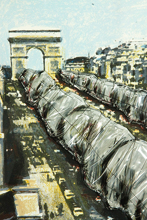 Christo, 'Wrapped Trees, Project for Avenue des Champs Elysees, Paris,' color lithograph, signed and dated in pencil,