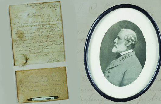 Archive of Robert E. Lee items including a letter he wrote in 1867 to a Baltimore orphanage, with his donated penknife carried during the Civil War and a lock of his hair. On display for 18 years at Arlington House. Estimate $20,000-$30,000. Quinn's Auction Galleries image.