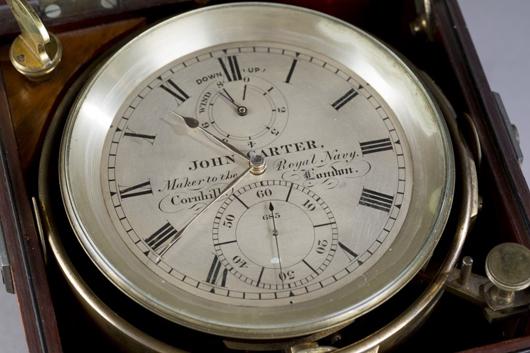 John Carter, London, ship chronometer. Estimate $5,000-$7,000. Quinn's Auction Galleries image.