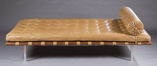 Knoll Barcelona daybed, ex collection of the late Speaker of the House The Honorable Thomas S. 'Tom' Foley and Heather Strachan Foley. Estimate $1,500-$2,500. Quinn's Auction Galleries image.