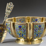 Russian silver gilt and plique-a-jour lobed bowl and tea caddy spoon. Estimate $6,000-$8,000. Quinn's Auction Galleries image.